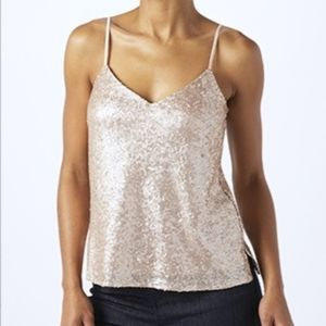Rose Gold Sequin camisole party top